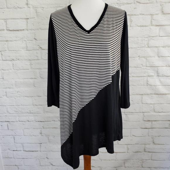 Comfy USA Asymmetrical Lagenlook Tunic Top Striped